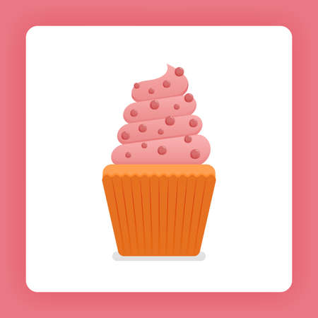 Illustration of cupcake with simple strawberry ice cream with choco chips. Strawberry muffin cream for birthday cake. Design can be for books, flyer, poster, website, web, apps, landing page, cookbook 向量圖像