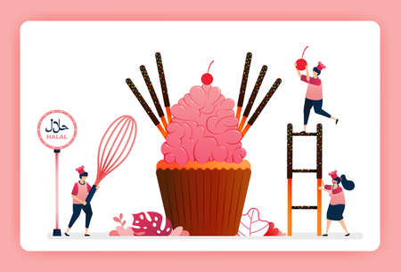Illustration of cook halal sweet strawberry cupcakes. Pink sugar icing with chocolate cake sticks and candy. Design can use for website, web, landing page, banner, mobile apps, ui ux, poster, flyer
