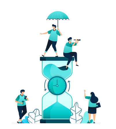 vector illustration of hourglass with clock rotating in the middle to count down. measure time limit and workability. women and men workers. designed for website, web, landing page, apps, poster flyer
