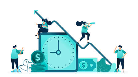 vector illustration of improve quality of time and employee income. clock with a dollar bill and a pile of coins. women and men workers. designed for website, web, landing page, apps, poster, flyer