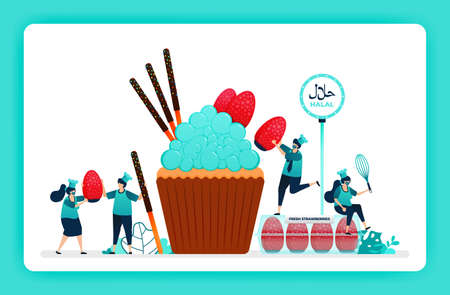 halal food menu illustration of sweet cupcake. fresh strawberries and chocolate sticks for muffin topping. Design can use For website, web, landing page, banner, mobile apps, UI UX, poster, flyer