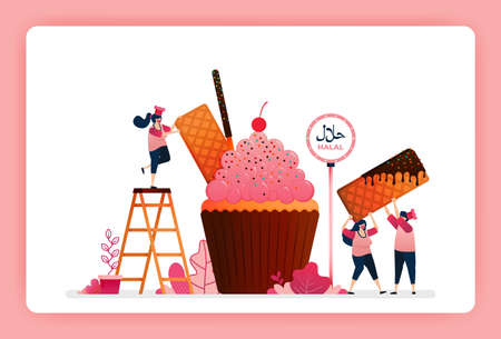 halal food menu illustration of sweet strawberry cupcake. Muffin with snack waffle, chocolate stick and wafer. Design can use For website, web, landing page, banner, mobile apps, UI UX, poster, flyer