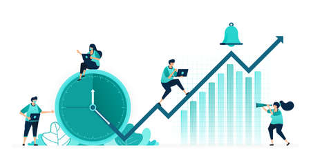 vector illustration of hours and schedules to improve company performance. company profits increasing on chart. women and men workers. designed for website, web, landing page, apps ui ux, poster flyer 向量圖像