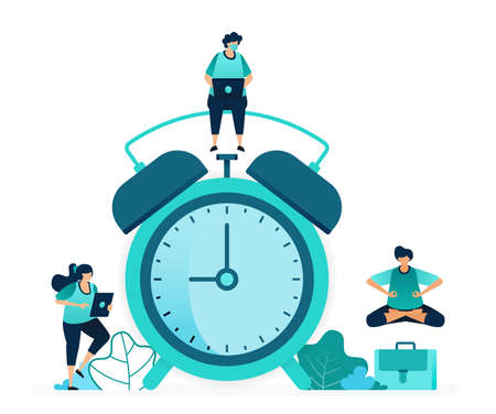 vector illustration of setting alarm clock to wake up in morning. Scheduling and plan notification alerts. women and men workers. designed for website, web, landing page, apps, ui ux, poster, flyer