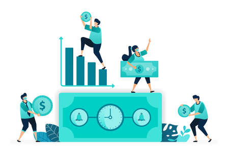 vector illustration of Time is money with clock. bell on dollar bill. increasing chart, working time, income. women and men workers. designed for website, web, landing page, apps, ui ux, poster, flyer 向量圖像