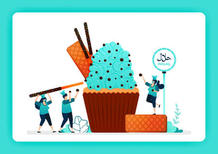 Food illustration of cook halal sweet cupcakes. Muffins topping with cream, waffle, chocolate chip, biscuit. Design can use for website, web, landing page, banner, mobile apps, ui ux, poster, flyer 向量圖像