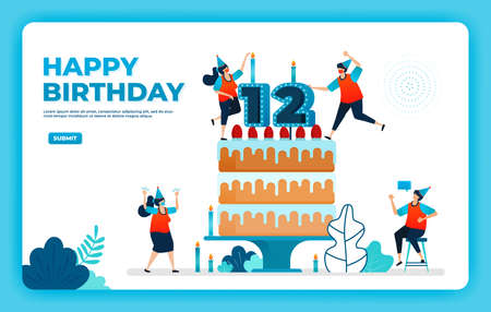 12th birthday vector illustration with health protocol. happy quarantine birthday party. birthday sign. online birthday card. For website, web, landing page, banner, mobile apps, UI UX, poster, flyer