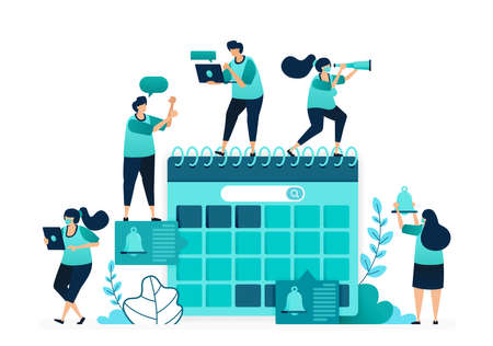 vector illustration of agenda in calendar. manage scheduling and planning work timeliness deadlines. group of women and men workers. designed for website, web, landing page, apps, ui ux, poster, flyer 向量圖像