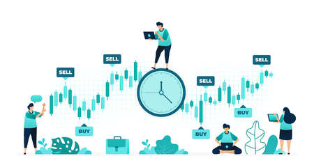 vector illustration of timing of investment. the right time to buy and sell stocks to make a big profit. women and men workers. designed for website, web, landing page, apps, ui ux, poster, flyer 向量圖像