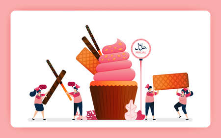 Illustration of cook halal sweet strawberry cupcakes. Muffin with snack waffle, chocolate stick and wafer. Design can use for website, web, landing page, banner, mobile apps, ui ux, poster, flyer 向量圖像