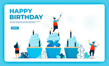 24th birthday vector illustration with health protocol. happy quarantine birthday party. birthday sign. online birthday card. For website, web, landing page, banner, mobile apps, UI UX, poster, flyer