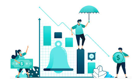 vector illustration of bell in chart financial analysis. notifications reminders up and down in market stock. women and men workers. designed for website, web, landing page, apps, ui ux, poster, flyer 向量圖像