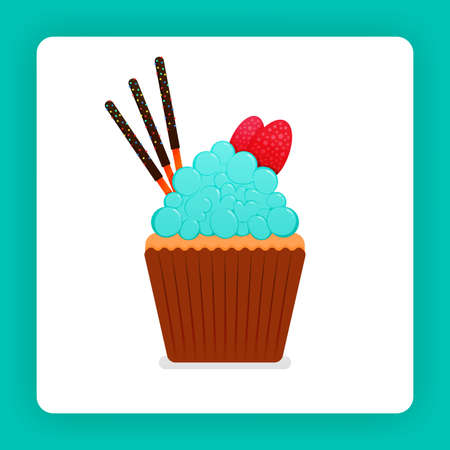 Illustration of tasty cupcake with mint flavored whip cream with added double strawberries and three chocolate sticks. Design can be for book, flyer, poster, website, web, apps, landing page, cookbook 向量圖像