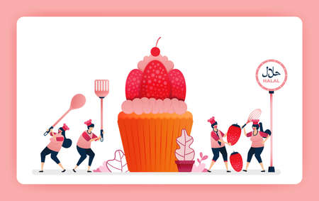 Food illustration of cook halal sweet strawberry cupcakes. Cook chocolate wafer snacks for muffin topping. Design can use for website, web, landing page, banner, mobile apps, ui ux, poster, flyer 向量圖像