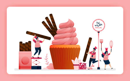 halal food menu illustration of sweet strawberry cupcake. Cook chocolate wafer snacks for muffin topping. Design can use For website, web, landing page, banner, mobile apps, UI UX, poster, flyer