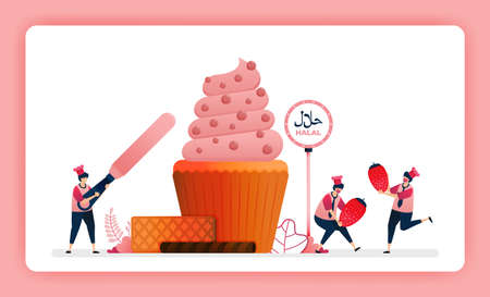 halal food menu illustration of sweet strawberry cupcake. Making muffins decorated with swirl icing and cocoa. Design can use For website, web, landing page, banner, mobile apps, UI UX, poster, flyer 向量圖像