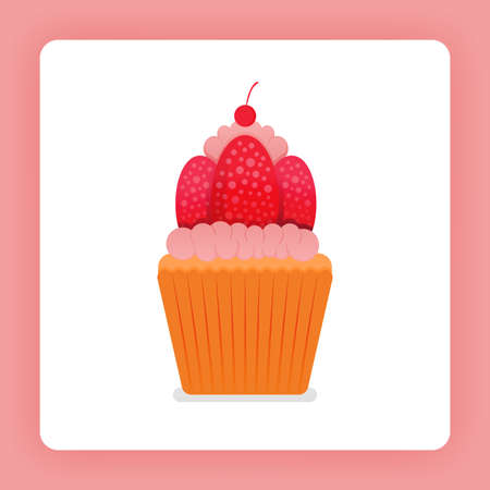 Illustration of cupcake with strawberry whip cream. Fresh strawberries and double frosting. Strawberry icing cake. Design can be for books, flyer, poster, website, web, apps, landing pages, cookbook