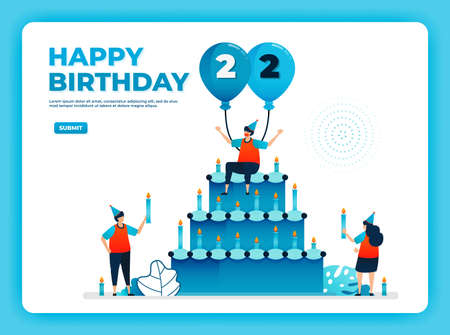 22th birthday vector illustration with health protocol. happy quarantine birthday party. birthday sign. online birthday card. For website, web, landing page, banner, mobile apps, UI UX, poster, flyer