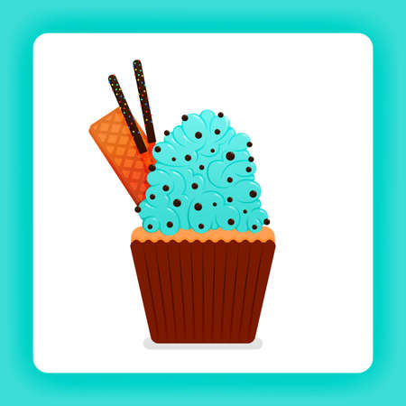 Illustration of tasty cupcake with mint wimp cream with extra topping of choco chip, wafer and chocolate stick. Design can be for books, flyer, poster, website, web, apps, landing page, cookbook