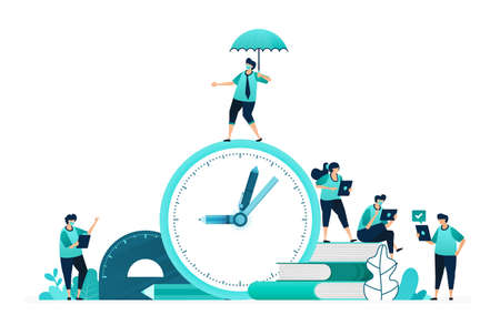 vector illustration of calculate study time for students. selection and planning of education timeframes. women and men workers. designed for website, web, landing page, apps, ui ux, poster, flyer 向量圖像