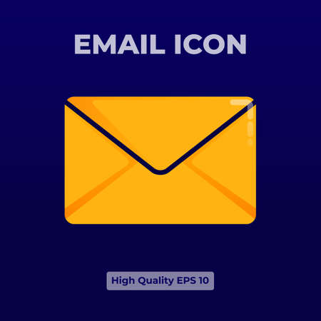 Yellow email Icon illustration with 3d flat style.