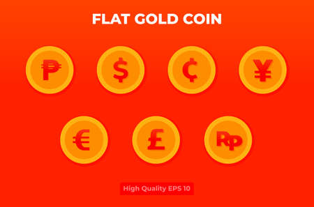 Flat gold coin illustration. coin currency pack .