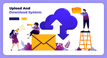 internet download and upload network on cloud system and email services. 向量圖像