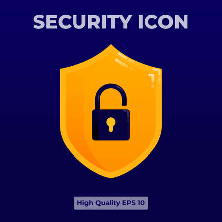 Yellow security Icon illustration with 3d flat style. 向量圖像