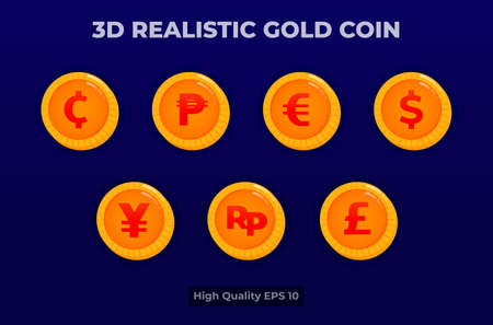 3d realistic gold coin illustration. coin currency pack.