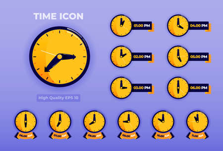 Time Icon illustration with 3d flat style. time icon pack.
