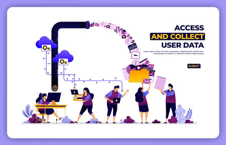 vector poster of access and collect user data. manage user experience activity.