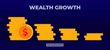 Yellow wealth growth Icon illustration with 3d flat style. 向量圖像