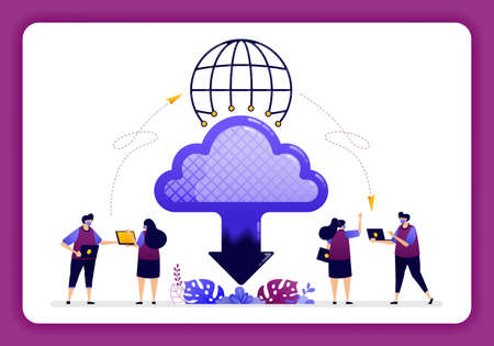 cloud data center illustration. Global access to cloud technology for sharing and sending files on internet network. 向量圖像