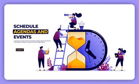 illustration design of schedule agenda and effect. managing working and holiday.