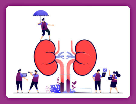 design illustration for kidney disease and treatment. insurance for internal organs. simple kidneys for props.