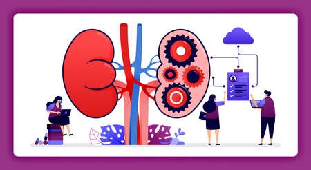 design illustration for kidney disease and treatment. Storage of internal organ and kidney health data in the cloud. 向量圖像