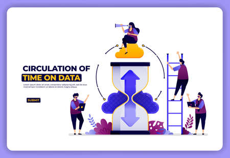 landing page design of circulation of data based on time. scheduling data access.
