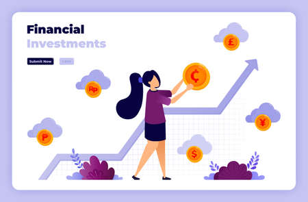 Illustration of financial investment with illustrations of gold coins and charts. 向量圖像