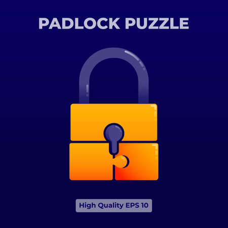 Yellow padlock puzzle Icon illustration with 3d flat style. 向量圖像
