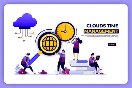 banner design of clouds time management. time management of cloud storage work. 向量圖像