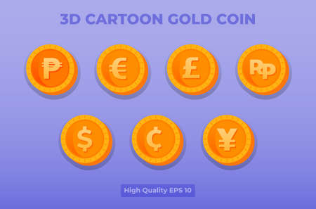 3d cartoon gold coin illustration. coin currency pack.