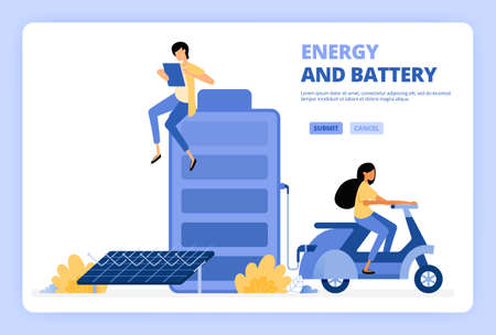 People access green energy from solar cell batteries. Woman rides motorbike with green electric energy. Designed for landing page, banner, website, web, poster, mobile apps, homepage, flyer, brochure
