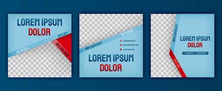 Aesthetic blue fashion clothing design for social media posts pack. Vector illustration design can be used for website, web page, poster, flyer, background, billboard, print letter, invitation, ads Ilustração