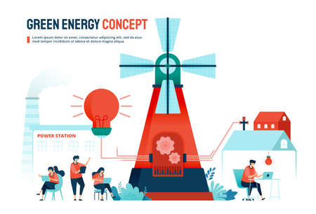 Green energy concept with alternative resources for household and industrial needs. Designed for landing page, banner, website, web, poster, mobile apps, homepage, social media, flyer, brochure, ui ux Ilustração