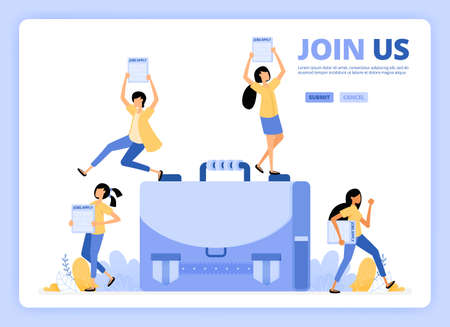 People standing with applications to apply. Job vacancies, join us or we're hiring illustration. Designed for landing page, banner, website, web, poster, mobile apps, homepage, flyer, brochure