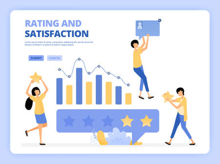 Clients give five star rank. Good review and feedback. Characters use mobile apps. People giving star feedback. Clients choosing satisfaction rating and positive review. Landing page, website, poster