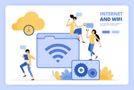 People love to use internet and wifi. Cloud storage with fast bandwidth. People access the internet. Designed for landing page, banner, website, web, poster, mobile apps, homepage, flyer, brochure Ilustração