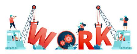 Illustration of work letters built by construction workers teamwork and excavator. Designed for landing page, banner, website, web, poster, mobile apps, homepage, social media, flyer, brochure, ui ux