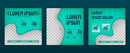 Aesthetic green fashion clothing design for social media posts pack. Vector illustration design can be used for website, web page, poster, flyer, background, billboard, print letter, invitation, ads