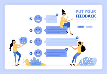 User provide comments and feedback on services using face emoticon. Positive user experience. Designed for landing page, banner, website, web, poster, mobile apps, homepage, flyer, brochure